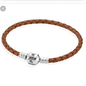 Pandora single braided leather bracelet, brown, S